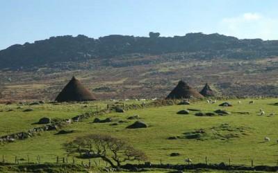 A modern reconstruction of a Bronze Age village