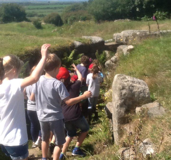 St Hilary School explore the fogou at Carn Euny