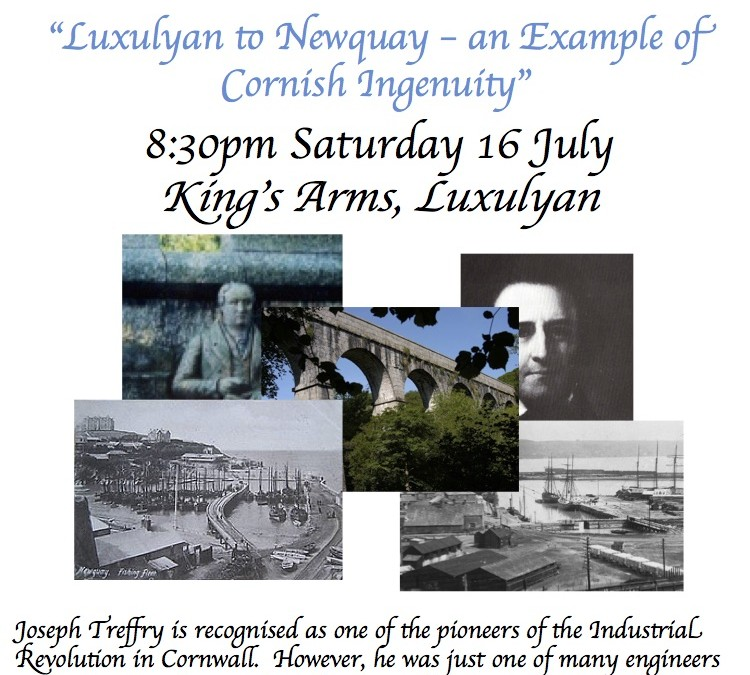 """Story Cafe """"Luxulyan to Newquay – an Example of Cornish Ingenuity"""", Saturday 16th July"""